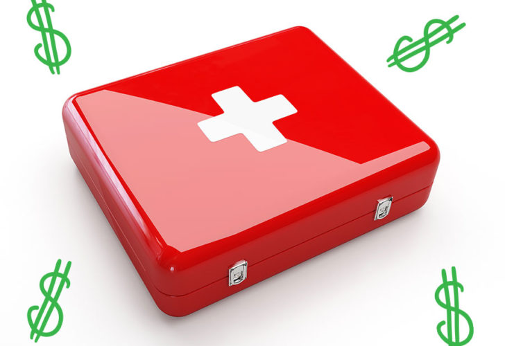 first aid kit with dollar signs around it