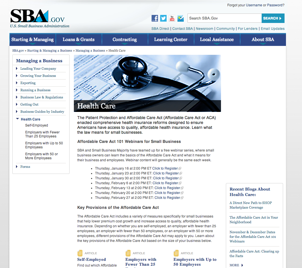 Small Business Administration's Health Care Reform Section