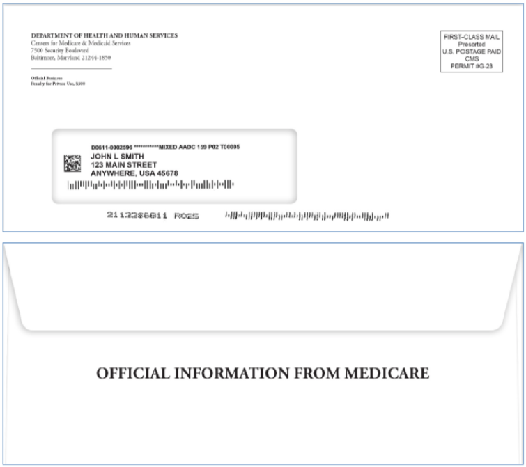 """An example of what the envelope will look like with the new Medicare card. The front is addressed from the Department of Health and Human Services and the back says """"Official Information From Medicare"""""""